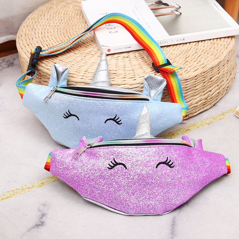 New Waist Bags Women Girl Designer Fanny Pack Fashion Casual Waterproof Belt Bag Cartoon Sequin Chest Bag Phone Pruse