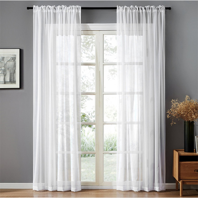 Modern Nordic Sheer Tulle Window Curtains Solid White Gray Black Screening Voile Drapes Living Room Home Decor Furniture Cover 5