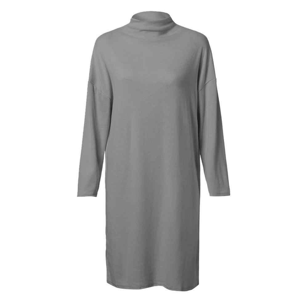 Plus Size Nữ Đầm Dệt Kim Mùa Đông Hàn Quốc Bé Gái Áo Đầm Vestidos Size Lớn Cao Cổ Tay Dài Mini Đen 5XL