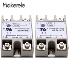 цена на Free Shipping Solid State Relay Module 24V-380V 40A 250V SSR-40DA 3-32V DC To AC SSR-40 DA SSR 40A Makerele CE Certificate