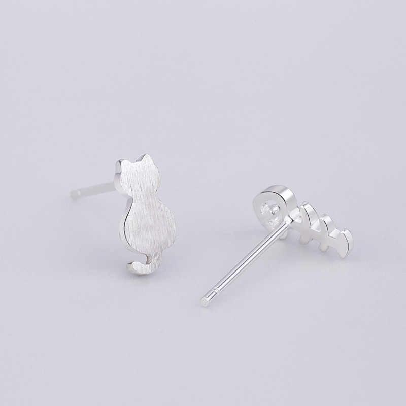 XIYANIKE 925 スターリングシルバー非対称かわいい猫の魚の骨の女性の女の子ギフト手作りファッション耳フープジュエリー