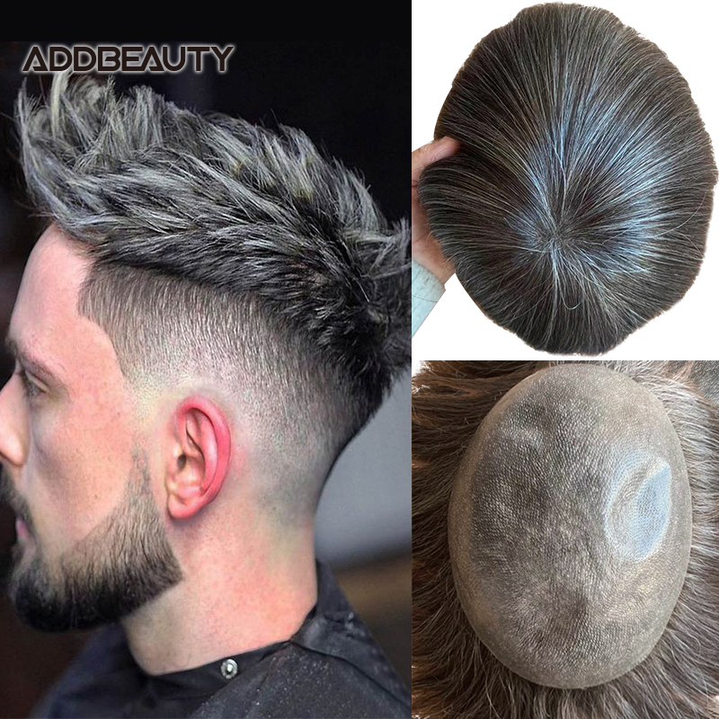 Men's Wig THIN SKIN PU Human Hair Wig Vloop PU 0.04-0.06cm Toupee Indian Remy Hair System Straight Men Hairpiece Grey Color 120%