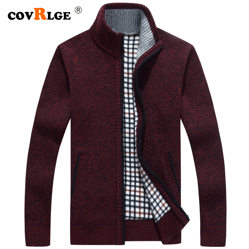 Covrlge Men's Sweater 2019 Autumn Casual Stand Collar Slim Fit Zipper Mens Warm Sweaters Standard Coat Men M-3XL Red Blue MWK002