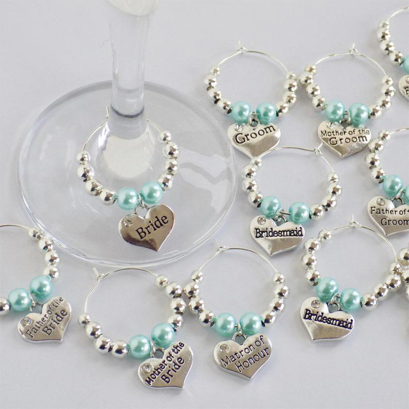 Bride To Be Bridesmaid Hair Clip Bracelet Wine Glass Charm Bachelorette Party Wedding Engagement Bridal Shower Decoration Gift