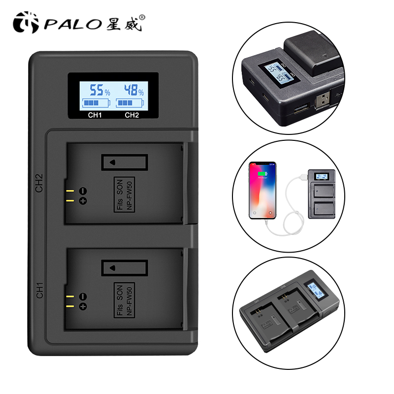 PALO NP-FW50 camera battery charger npfw50 fw50 LCD USB Dual Charger for Sony A6000 5100 a3000 a35 A55 a7s II alpha 55 alpha 7 A