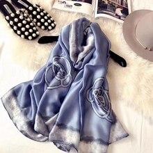 LARRIVED Hijab 100% Silk Shawl Scarf lotus Print Spring And Summer Oversized