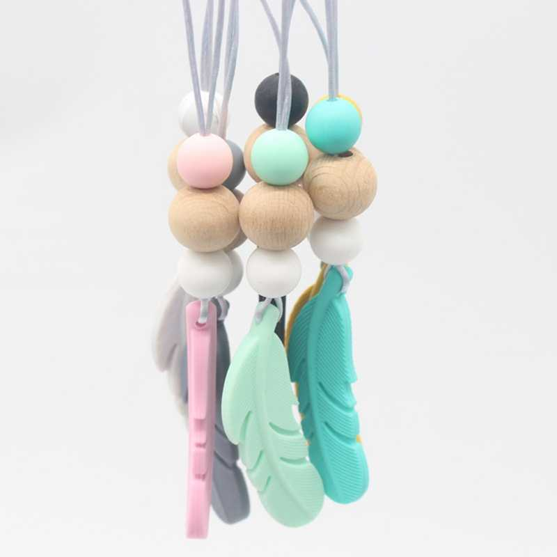 1PCS Baby Teething Necklace Food Grade Silicone Feather Beads Pendant Long Chain Baby Silicone Nurse Teether Baby Teether