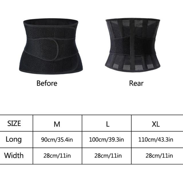 Fitness Sports Waist Trimmer Belt Slim Weight Loss Sweat Band Shapewear Adjustable Lumbar Brace 5