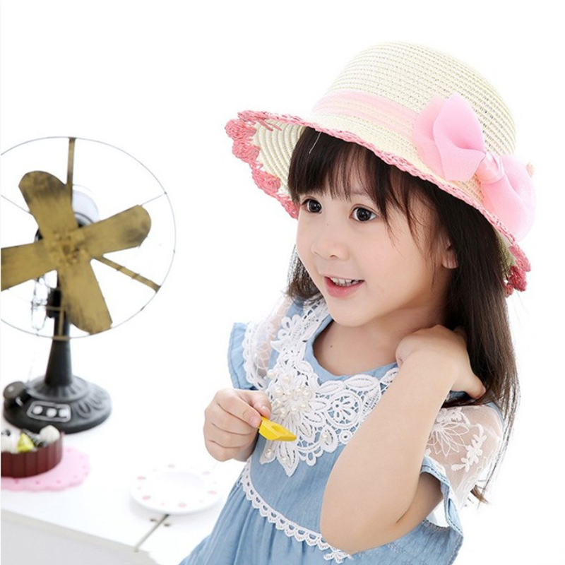Kids Cute Summer Straw Hat Bowknot Children Cap Beach Sun Protection Sun Shade Hats For Girls Gift Sombrero Mujer 2019