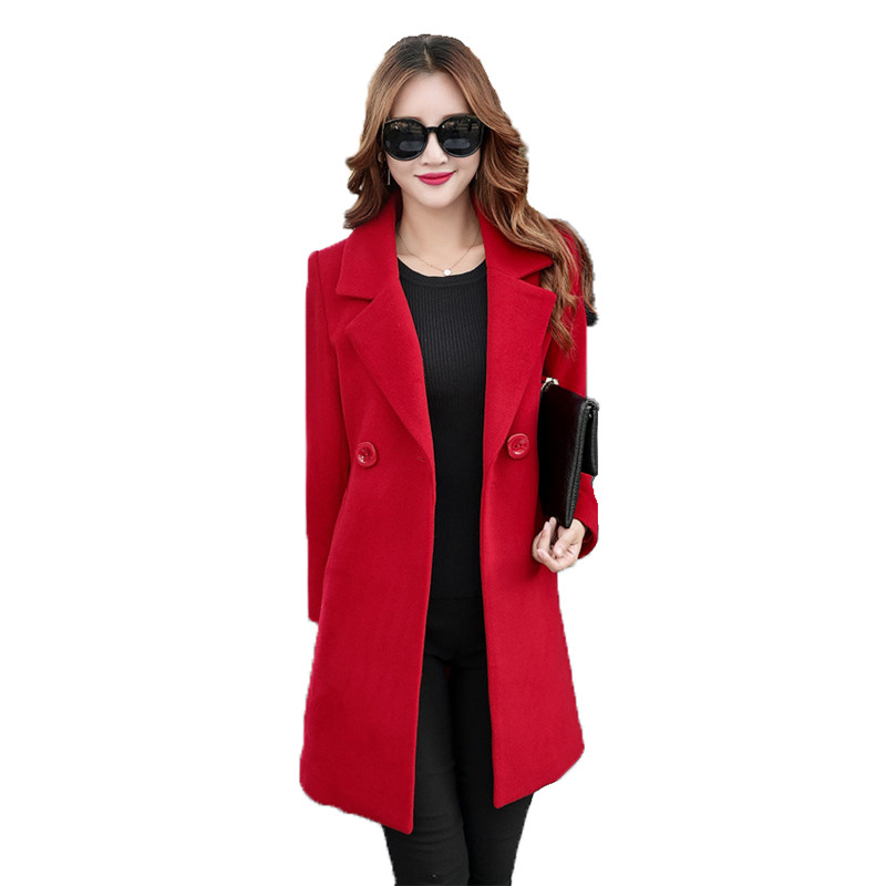 Women woolen coat red yellow black M 4XL plus size jacket autumn winter new korean long sleeve leisure fashion wool jacket LR508 in Wool amp Blends from Women 39 s Clothing