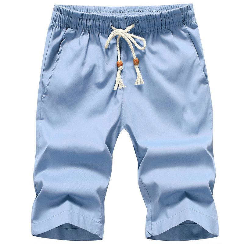 2019 Summer Quality Cotton Shorts Loose Men's Casual Shorts White Drawstring Waist Board Shorts Men Plus Size 4XL