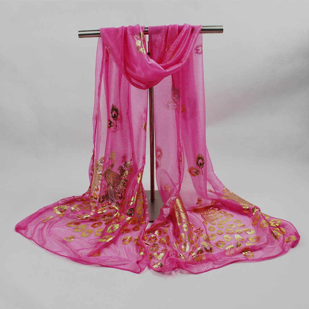 Di Nylon di modo Sciarpa Di Seta di Lusso Delle Donne di Marca Sciarpe Per Le Donne Scialle di Alta Qualità Fiore di Pavone Stampa Avvolge # L