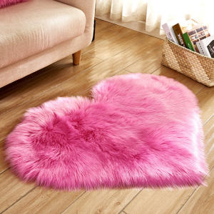 Long Hairy Rug Green White Pink Shaggy Carpet Love Heart Shape Fur Rugs Artificial Wool Baby Room Bedroom Soft Area Mat