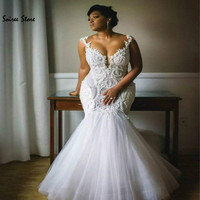 Sexy AfricanMermaid Wedding Dresses Plus Size Country Garden Wedding Gowns With Appliques Tulle Arab Bride Dress Jewel Barato
