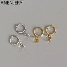 ANENJERY 925 srebro półksiężyc Hoop kolczyki dla kobiet francuskie złote srebro biżuteria hurtowych S-E1378