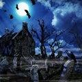 Tapiz de Halloween Castillo cementerio murciélago Puerta de horror tapiz colgante de pared decoración de fiesta de Halloween decoración del hogar sala de estar