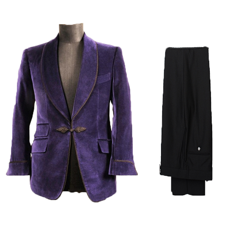 Purple Velvet Lapel Blazer Two Pieces Formal Tuxedos Loose Vintage Retro Dinner Party Prom Suit Mans Wedding Dress(Jacket+Pants)