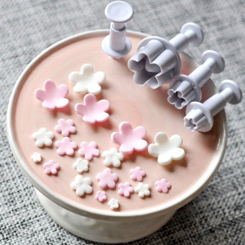 4 sztuk/zestaw kwiat śliwy kwiat tłok kremówka Cutter narzędzia do dekorowania masą cukrową ciastko DIY Stamper akcesoria do pieczenia