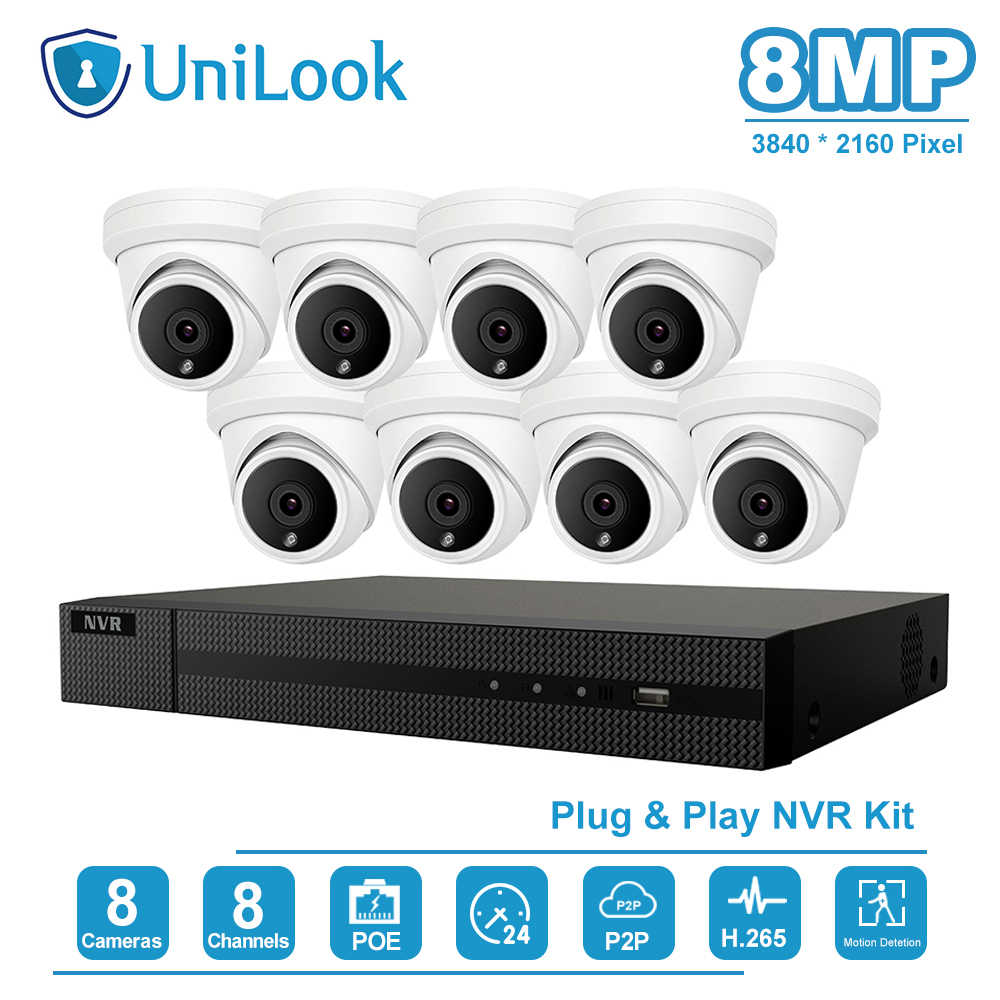 UniLook 8CH 4K NVR 8MP Della Cupola del IP di POE Camera Home/Outdoor ONVIF H.265 Sistemi di Sicurezza Kit CCTV Video di sorveglianza NVR Kit