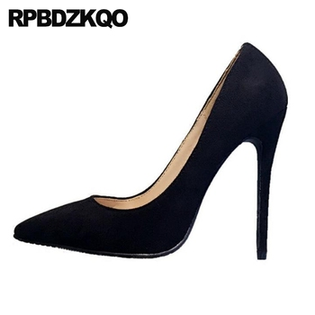 extreme black work shoes women leather modern pointed toe blue sexy thin ultra 8cm super high heels fetish pumps 12cm 5 inch