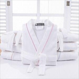 Image 2 - Kobiety 100% bawełna lato długi solidna panna młoda szata pełna rękaw wafel snu salon szaty szlafrok kimono kobiety koszula nocna bielizna nocna