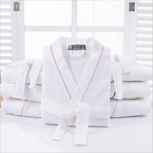 Image 2 - Women 100% Cotton Summer Long Solid Bride Robe Full Sleeve Waffle Sleep Lounge Robes Kimono Bath Robe Women Night Wear Sleepwear