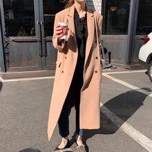 SHENGPALAE Autumn Winter 2019 Turn-down Collar Long Sleeve Female Windbreaker Loose Vintage Personal