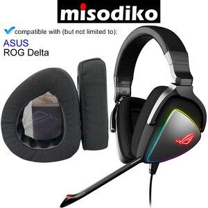 Image 1 - Misodiko substituição almofadas de ouvido almofada kit para asus rog delta gaming headset, fones de ouvido peças de reparo earpads (preto)