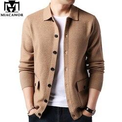 MIACAWOR-Cardigan en cachemire pour hommes, nouveau Pull chaud en laine, de haute qualité, à la mode, Pull masculin, automne, manteau, Y197