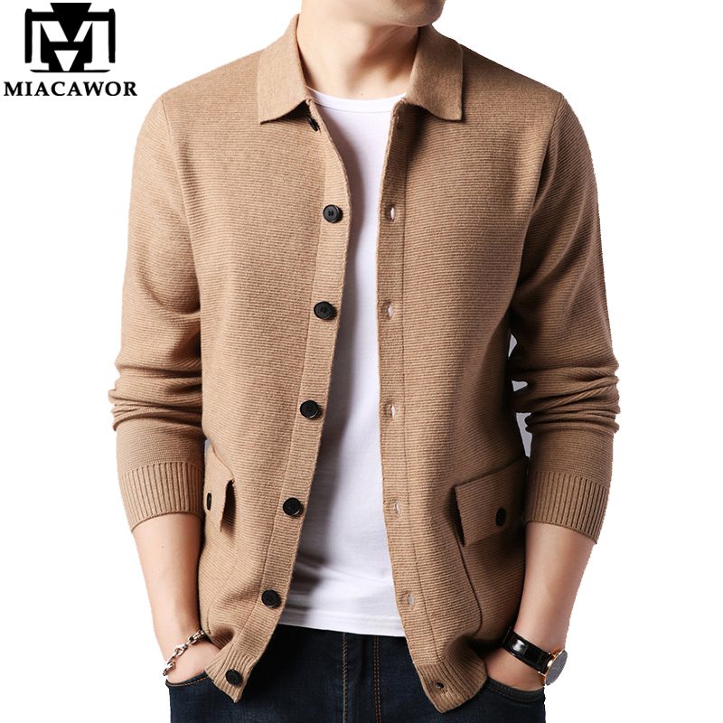 MIACAWOR New Sweater Men Cashmere Warm Cardigan Men High Quality Fashion Wool Pull Homme Autumn Male Sweater Coat Y197