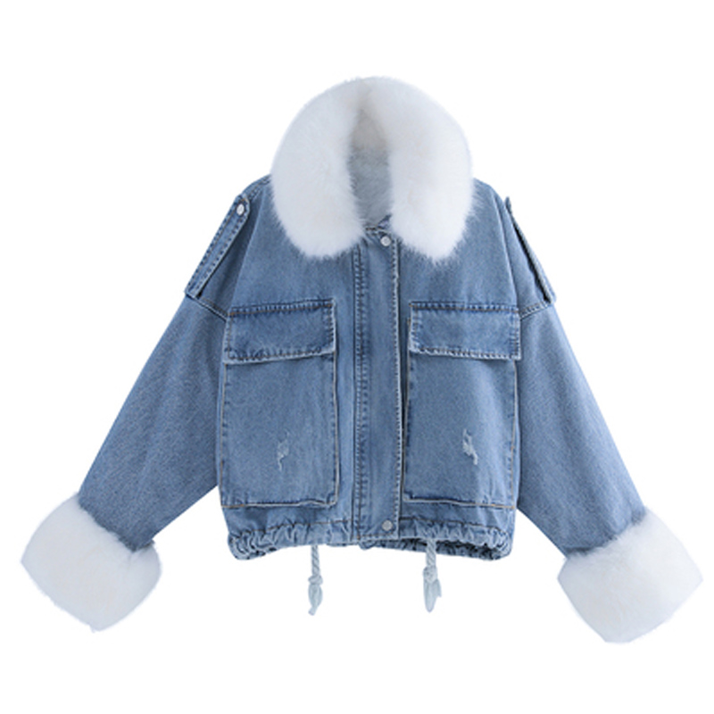 2020 Winter New Style Korean-style Loose Thick Plush Inner Wearing Large Fur Collar Denim   Parka   Women Coat Cropped Jacket