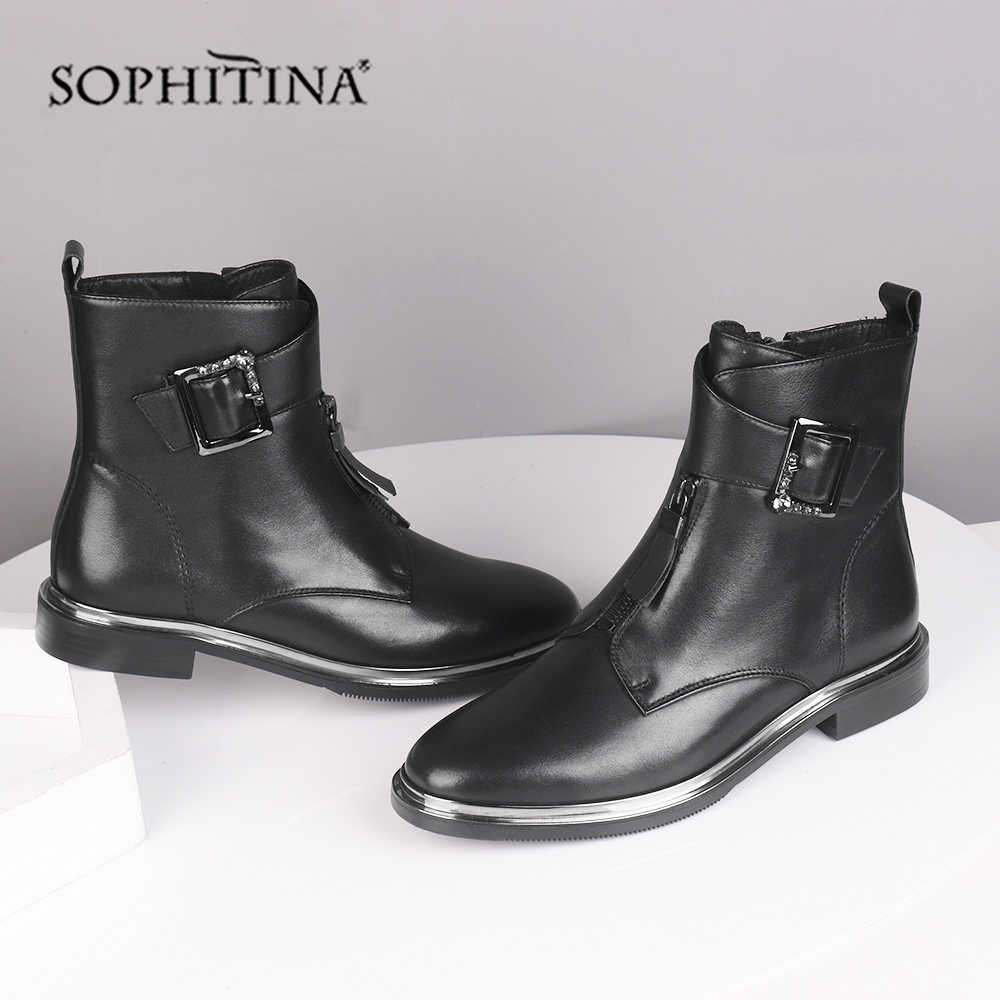 Sophitina Thời Trang Khóa Giày Chắc Chắn Nam Da Thật Cao Cấp Chính Hãng Da Thoải Mái Mũi Tròn Giày Mới Mắt Cá Chân Giày Bốt Nữ SC536