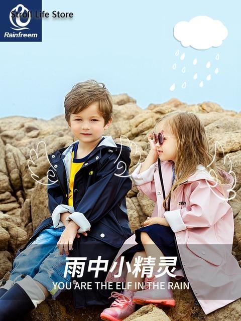 Waterproof Cute Long Raincoat Kids Yellow Pink Rain Ponch Jacket  Rain Partner Children Windbreaker Capa De Chuva Birthday Gift 1