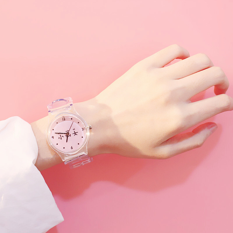 Women Watches Silicone Cartoon Style Transparent Strap Women Watch Korean Style Round Dial Casual Watch LXH