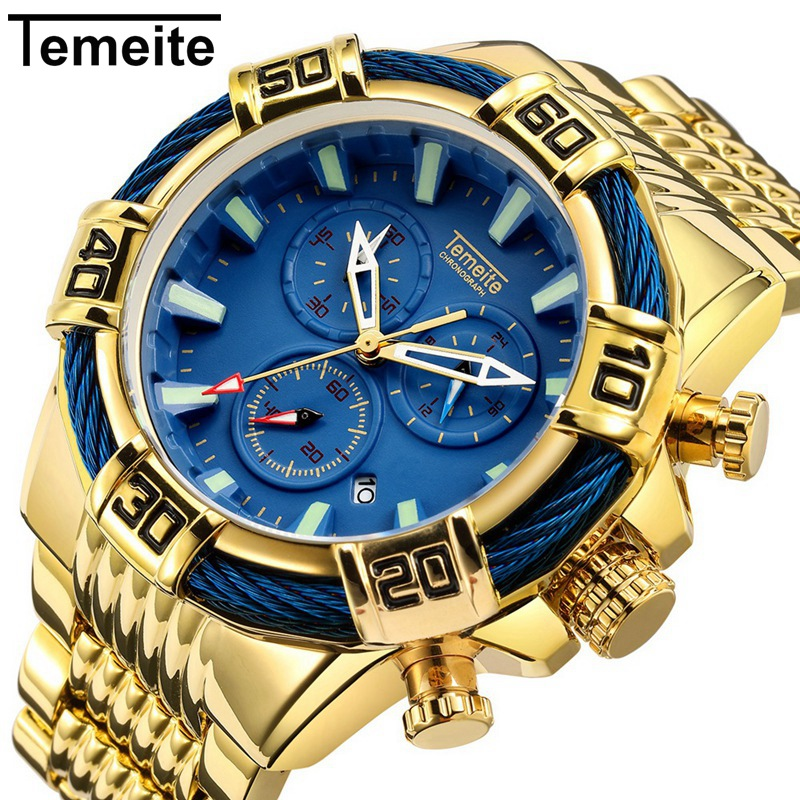 Temeite Large Dial Quartz Wristwatches Gold Blue Mens Watches Top Brand Luxury Waterproof Fashion Multifunction Man Watch 2019