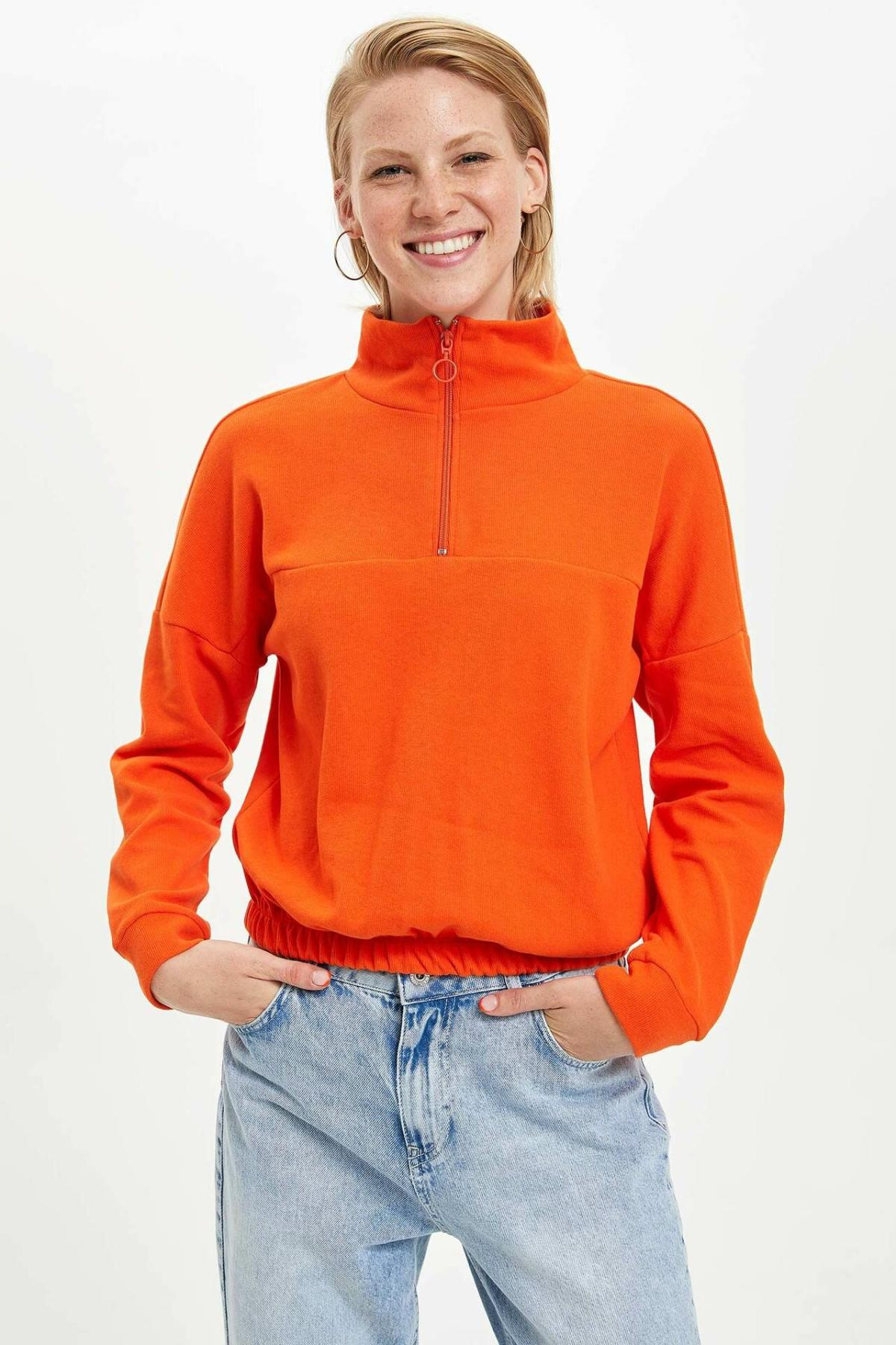 DeFacto Hoodies Orange Women Stand Collar Thin Zip Striped Loose Leisure Sweatshirts Women Simple Joker Pullovers-L3489AZ19AU