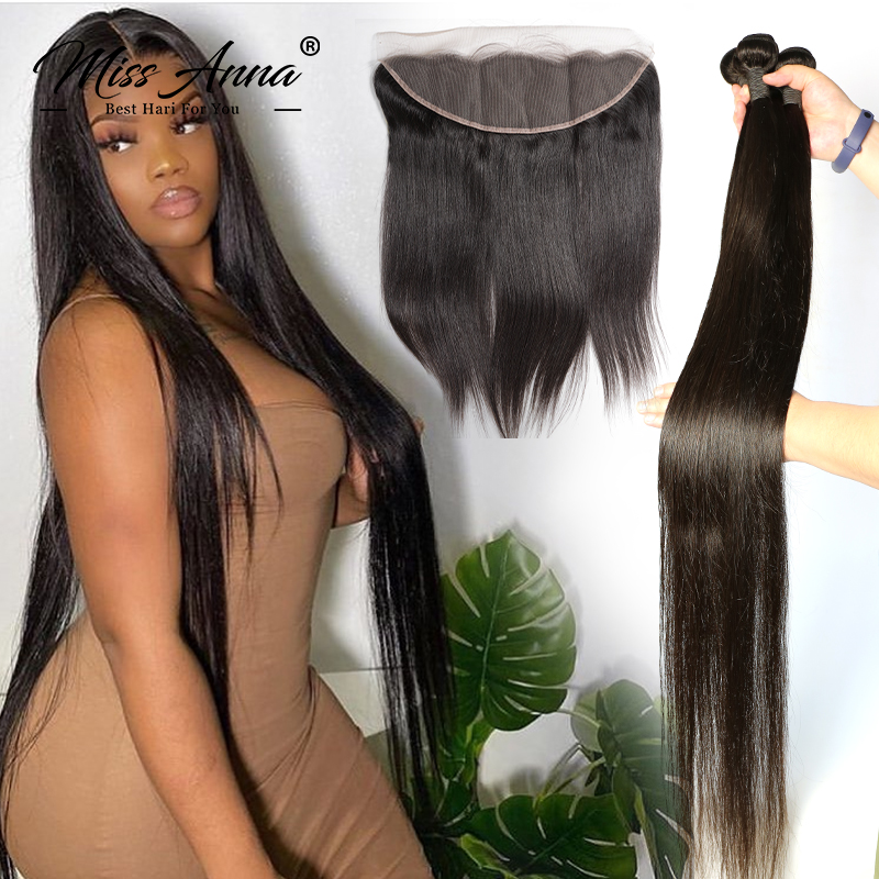 MissAnna Brazilian Hair Weave Bundles With Frontal 13x4 Lace Frontal Closure 30 Inch Human Hair Bundles With Frontal Virgin Hair