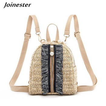 Straw Backpack for Women Summer Holiday Bags Small Beach Bag Girls Crochet Backpacks with Tassels Ladies Casual Bag Woven Purse zipper front backpack with tassels