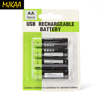 Znter 4PCS/set AA Rechargeable Battery 1.5V 2A 1250mAh USB Charging Lithium Bateria Use Micro Cable