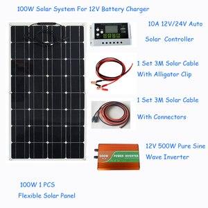 Image 3 - ソーラーパネル100ワットソーラーパネルシステムキット柔軟なソーラーパネル1 * 10Aソーラーコントローラ1セット3メートルケーブルは中国製rv/ボート