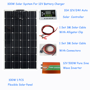 Image 3 - Solar panel 100W Solar Panel System Kits flexible solar panel 1*10A solar controller 1 set 3M cable made in China for RV/boat