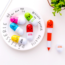6pcs Novelty capsule ballpoint pen Cute Vitamin pill Blue color ink pens for writing Stationery Office school accessories A6205 6pcs novelty capsule ballpoint pen cute vitamin pill blue color ink pens for writing stationery office school accessories a6205