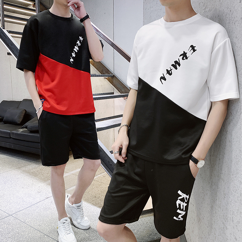 Teenager Fashion Leisure Suit Summer Short Sleeve Shorts Set Men's