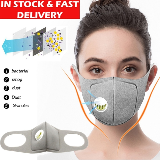 IN STOCK Anti Pollution PM2.5 Mouth Mask Dust Respirator Washable Reusable Masks Cotton Unisex Mouth Muffle for Allergy/ flu