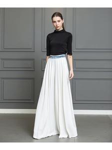 VOA Leg-Trousers Palazzo-Pants Hosen Silk Office White High-Waist Plus-Size Women Loose
