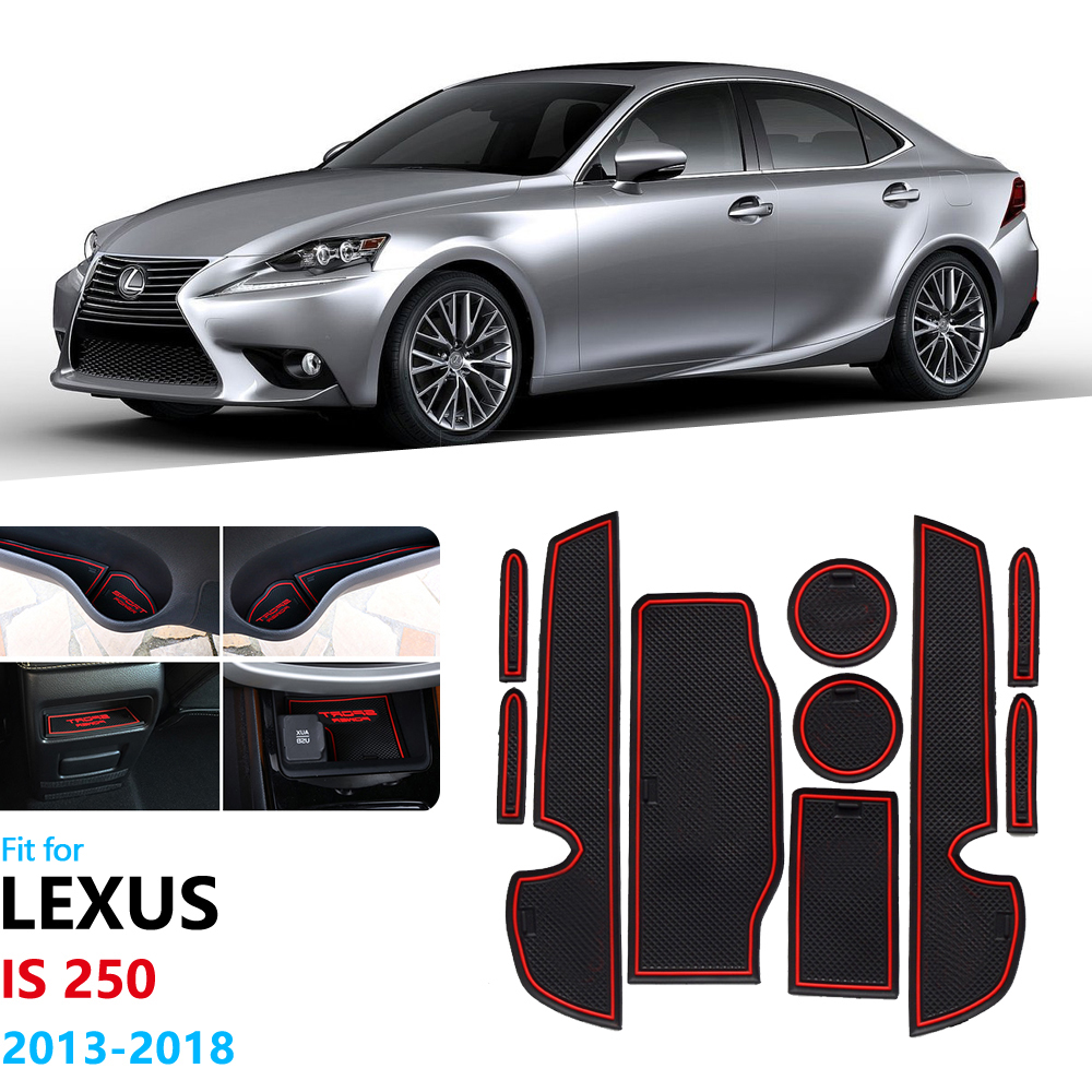 Anti-Slip Rubber Gate Slot Cup Mat For Lexus IS XE30 250 300h 350 IS250 IS300h IS350 2013 2015 2016 2017 2018 Door Groove Mat