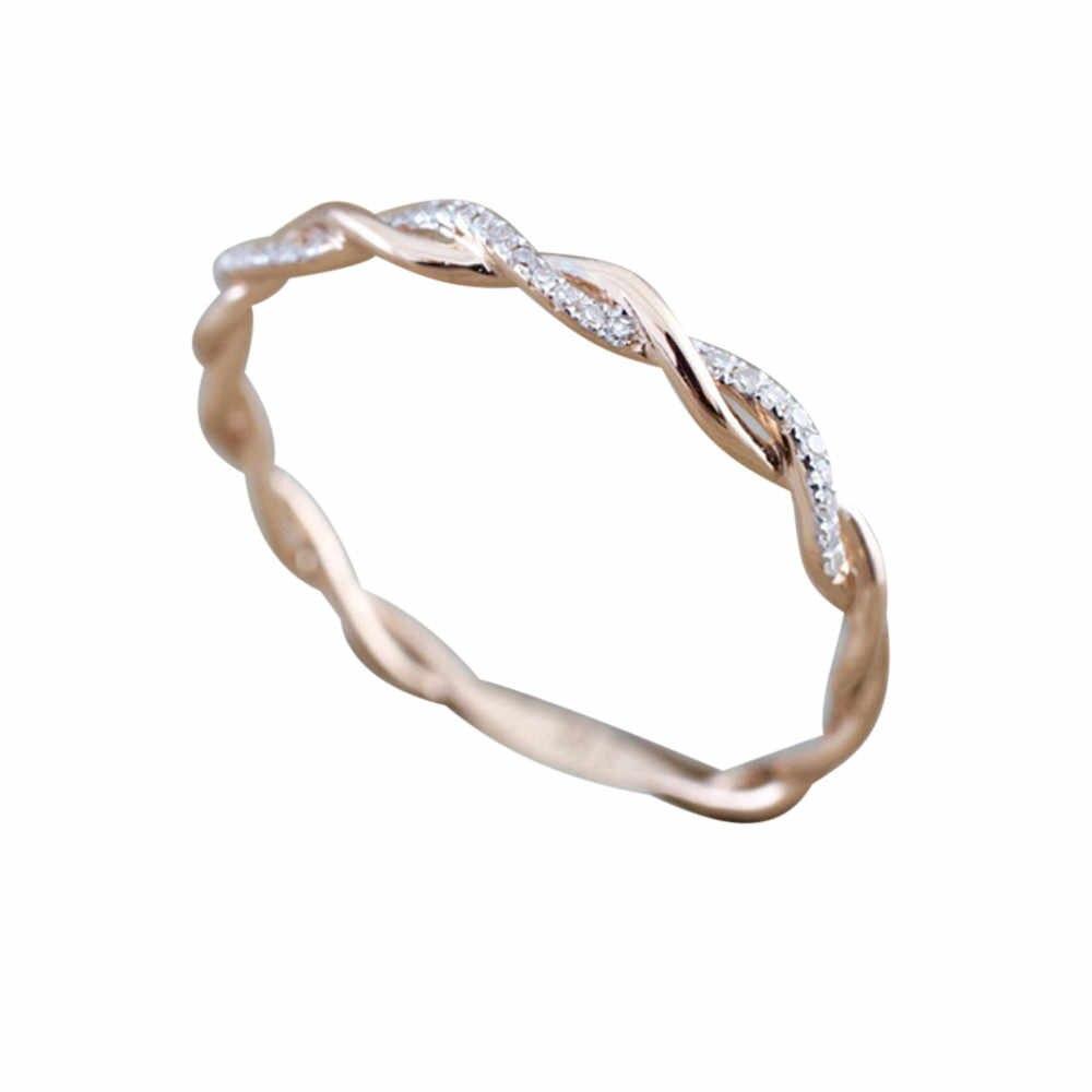 Kreatif Rose Warna Emas Twist Klasik Cubic Zirconia Pernikahan Cincin Rose Emas Cincin untuk Wanita Perhiasan Pesta Ulang Tahun