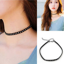Korean Fashion Exquisite Sweet Girl Short Necklace Harajuku Personality Retro Rivet Hot Nail Suede Neckband Collar Ankh Necklace(China)