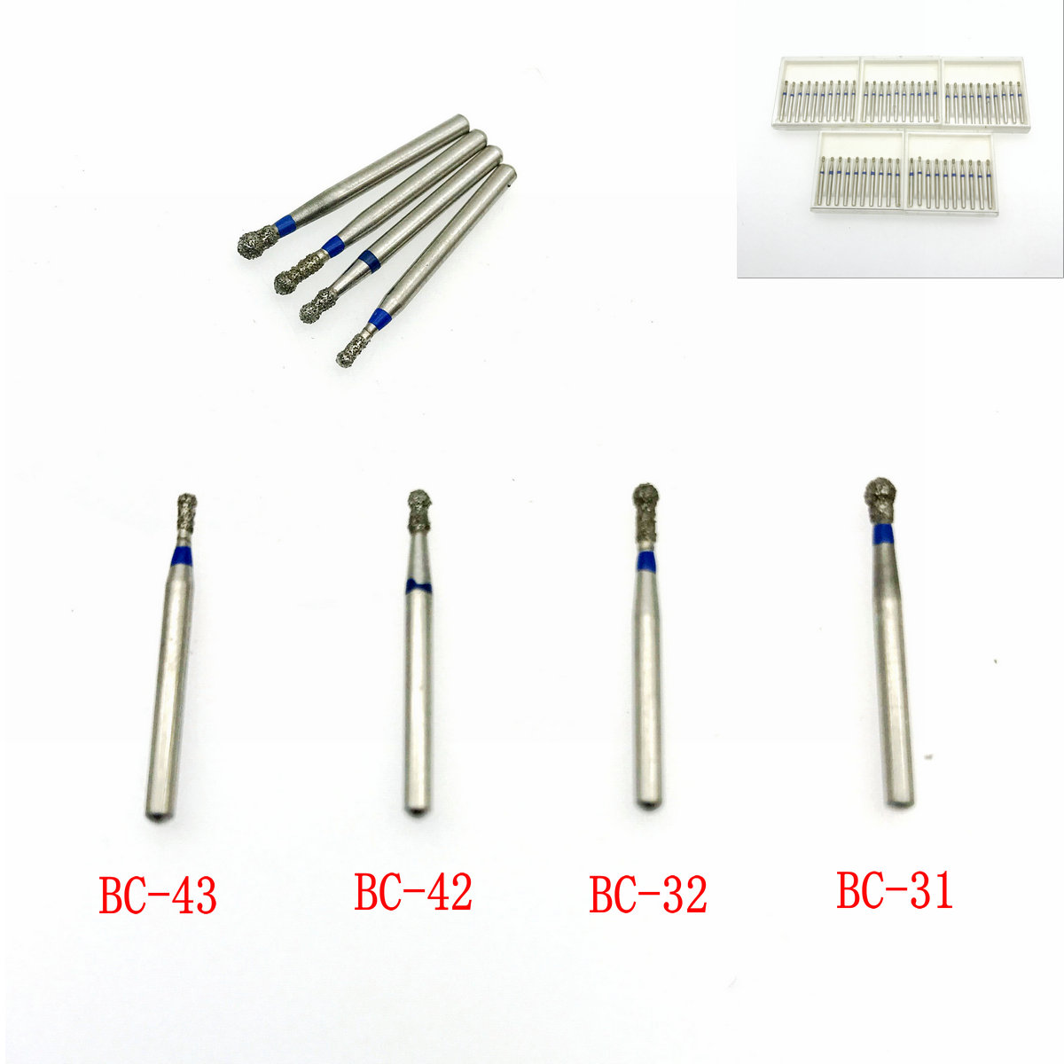 50Pcs Diamond Burs Drill Set Carborundum Burr FG Diamond Burs Red
