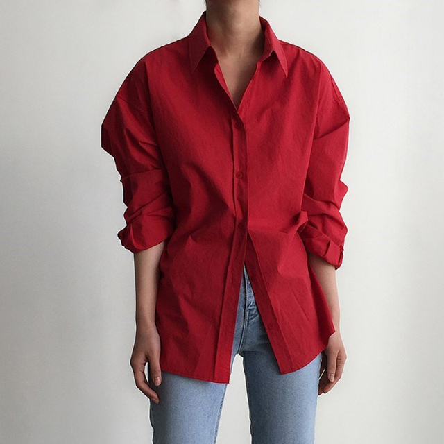 Vintage Single-breasted Solid Women Blouse 6
